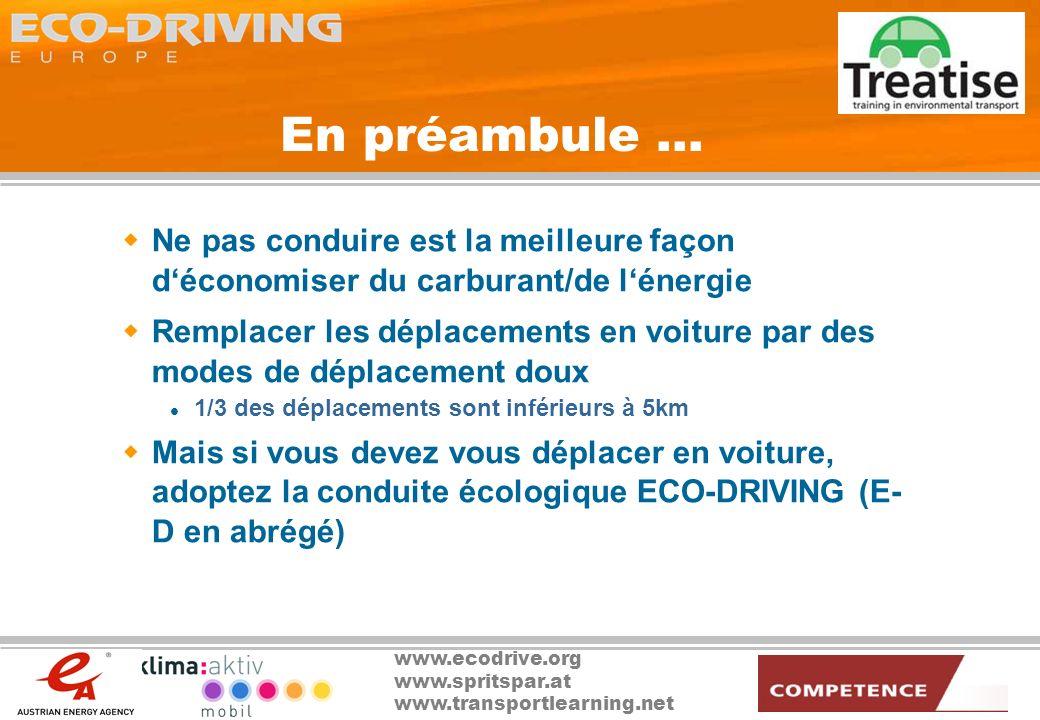 www.ecodrive.org www.spritspar.at www.transportlearning.net E-D : définition Passer la vitesse supérieure à 2500 tours/mn Maintenir une allure régulière à la vitesse la plus élevée possible Regarder au loin et anticiper la circulation Ralentir en laissant le véhicule en prise Eviter les accélérations et les freinages brusques