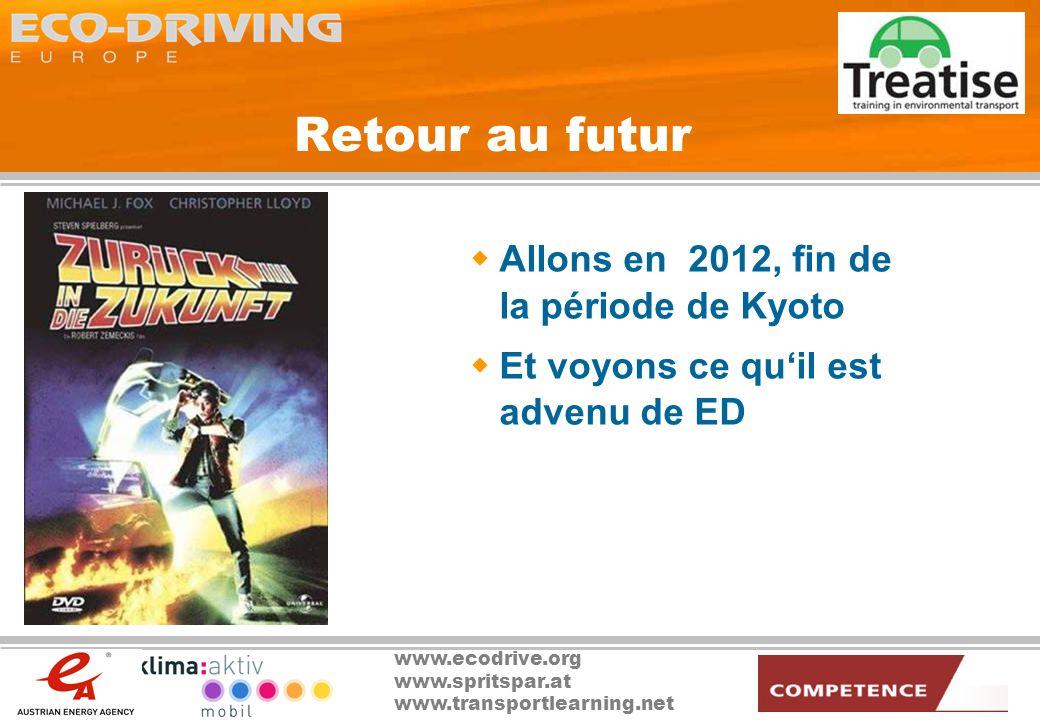 www.ecodrive.org www.spritspar.at www.transportlearning.net Retour au futur Allons en 2012, fin de la période de Kyoto Et voyons ce quil est advenu de