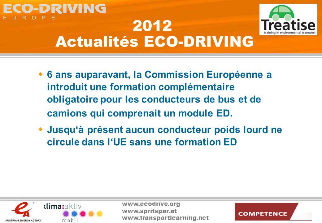www.ecodrive.org www.spritspar.at www.transportlearning.net 2012 Actualités ECO-DRIVING 6 ans auparavant, la Commission Européenne a introduit une for