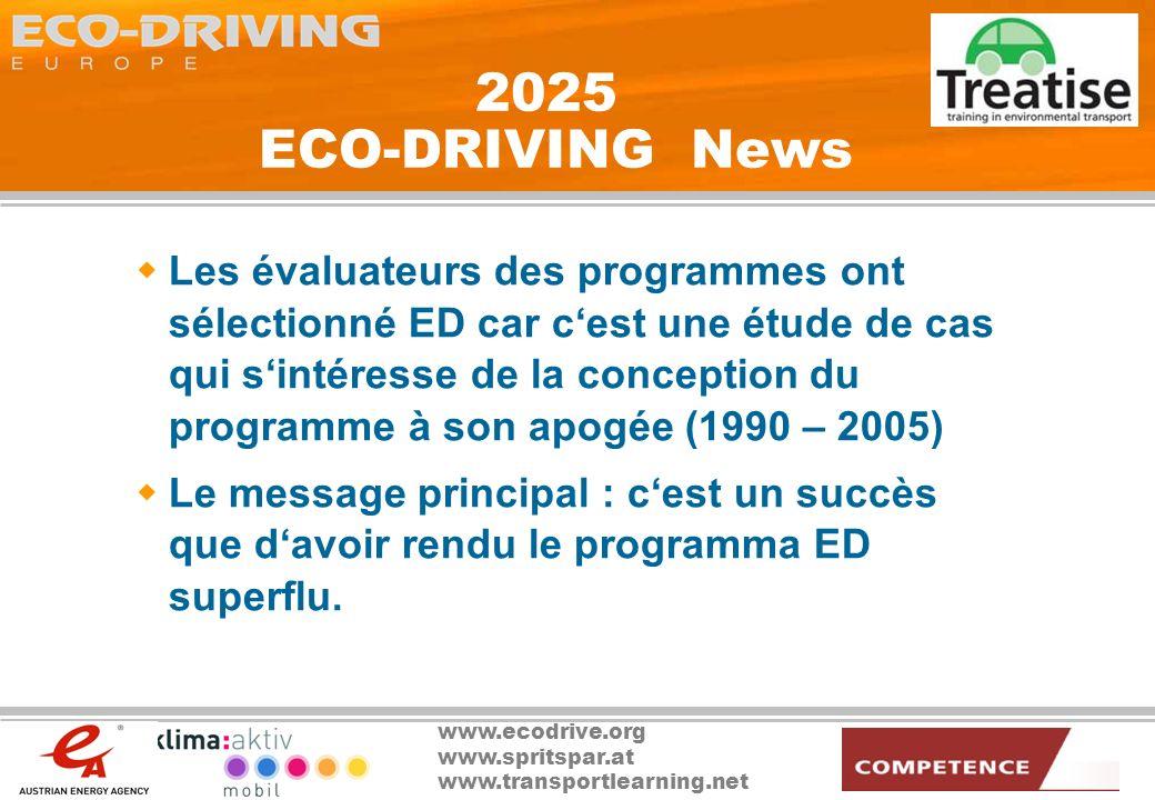 www.ecodrive.org www.spritspar.at www.transportlearning.net 2025 ECO-DRIVING News Les évaluateurs des programmes ont sélectionné ED car cest une étude