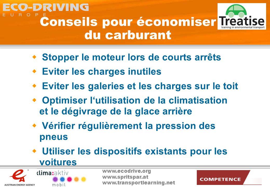 www.ecodrive.org www.spritspar.at www.transportlearning.net Conseils pour économiser du carburant Stopper le moteur lors de courts arrêts Eviter les c