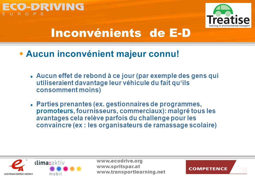 www.ecodrive.org www.spritspar.at www.transportlearning.net E-D : les moyens Formation de formateurs (et examinateurs) Intégration dans le programme des auto- école Des actions de sensibilisation renforcées, par exemple.