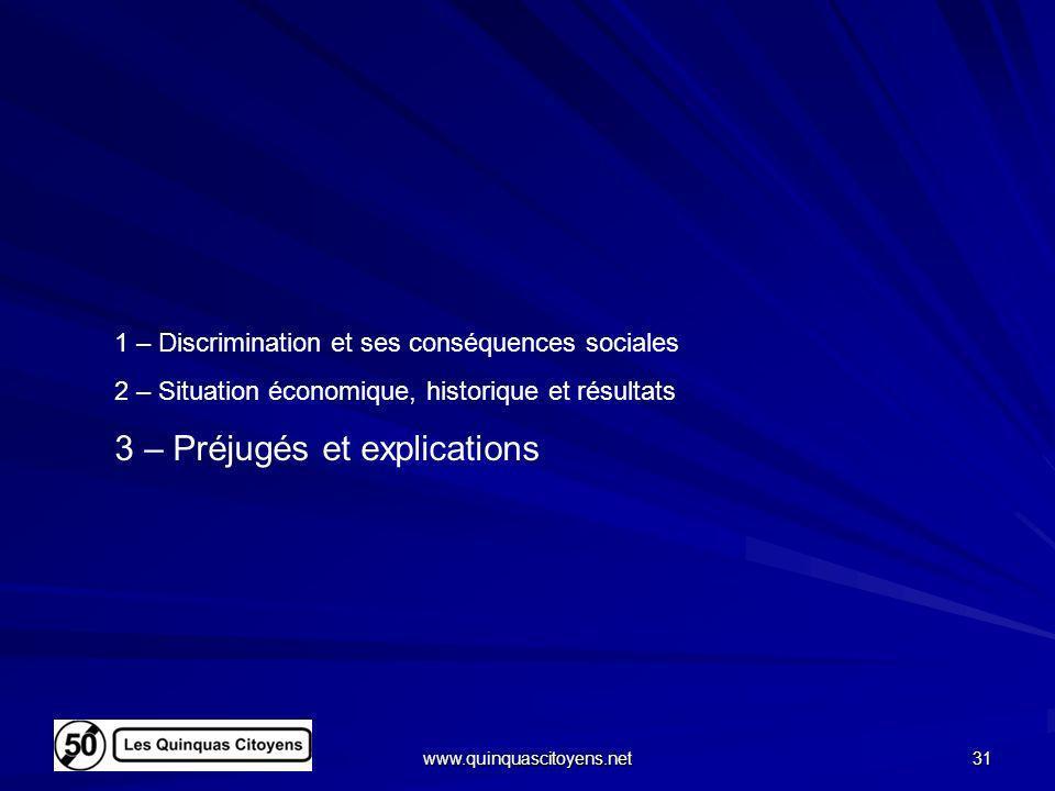 www.quinquascitoyens.net 31 1 – Discrimination et ses conséquences sociales 2 – Situation économique, historique et résultats 3 – Préjugés et explicat