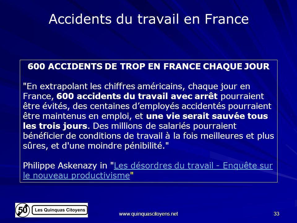 www.quinquascitoyens.net 33 Accidents du travail en France 600 ACCIDENTS DE TROP EN FRANCE CHAQUE JOUR