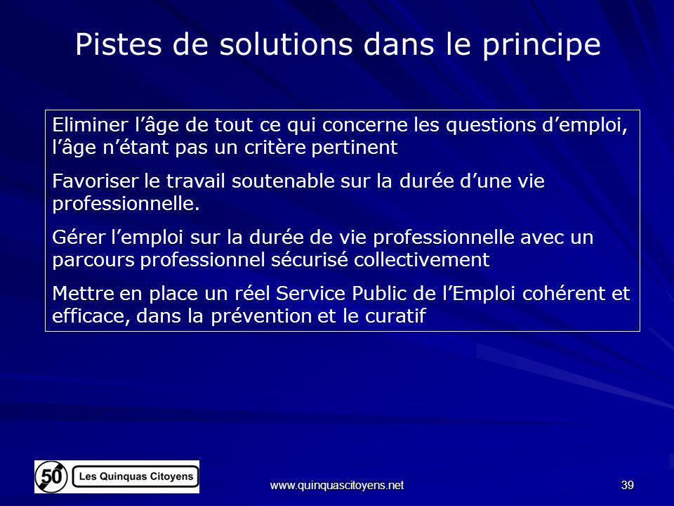 www.quinquascitoyens.net 39 Pistes de solutions dans le principe Eliminer lâge de tout ce qui concerne les questions demploi, lâge nétant pas un critè