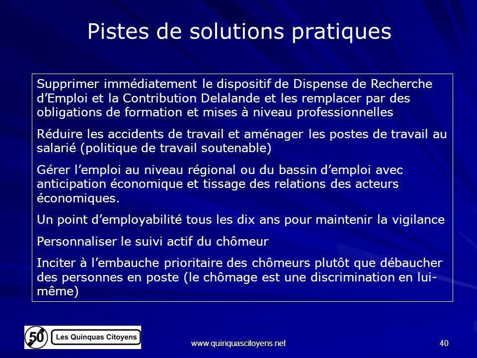 www.quinquascitoyens.net 40 Pistes de solutions pratiques Supprimer immédiatement le dispositif de Dispense de Recherche dEmploi et la Contribution De