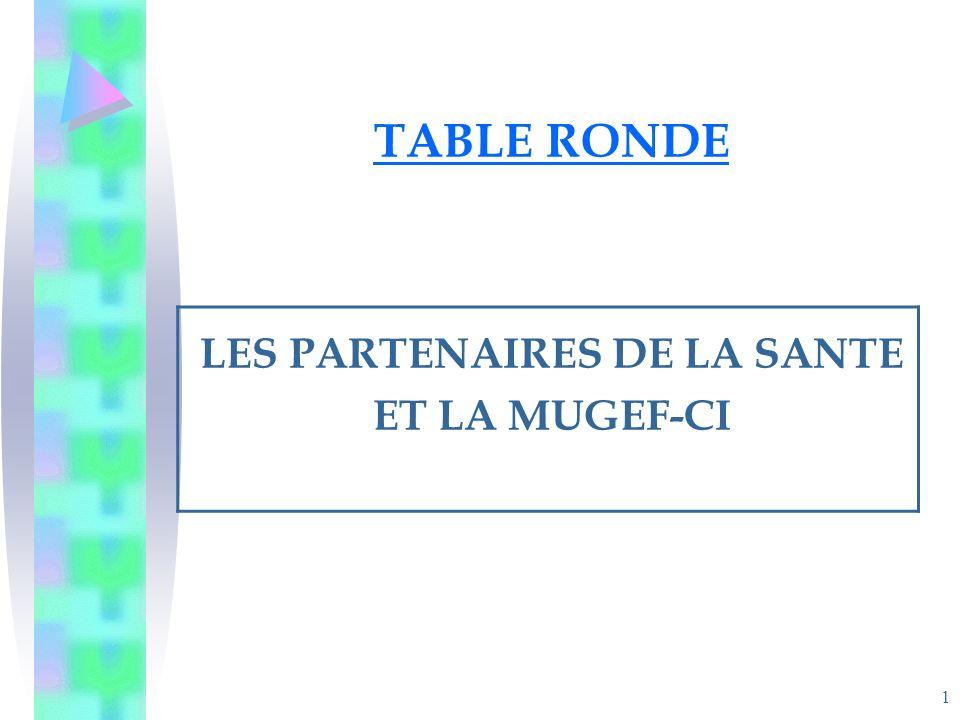 1 TABLE RONDE LES PARTENAIRES DE LA SANTE ET LA MUGEF-CI