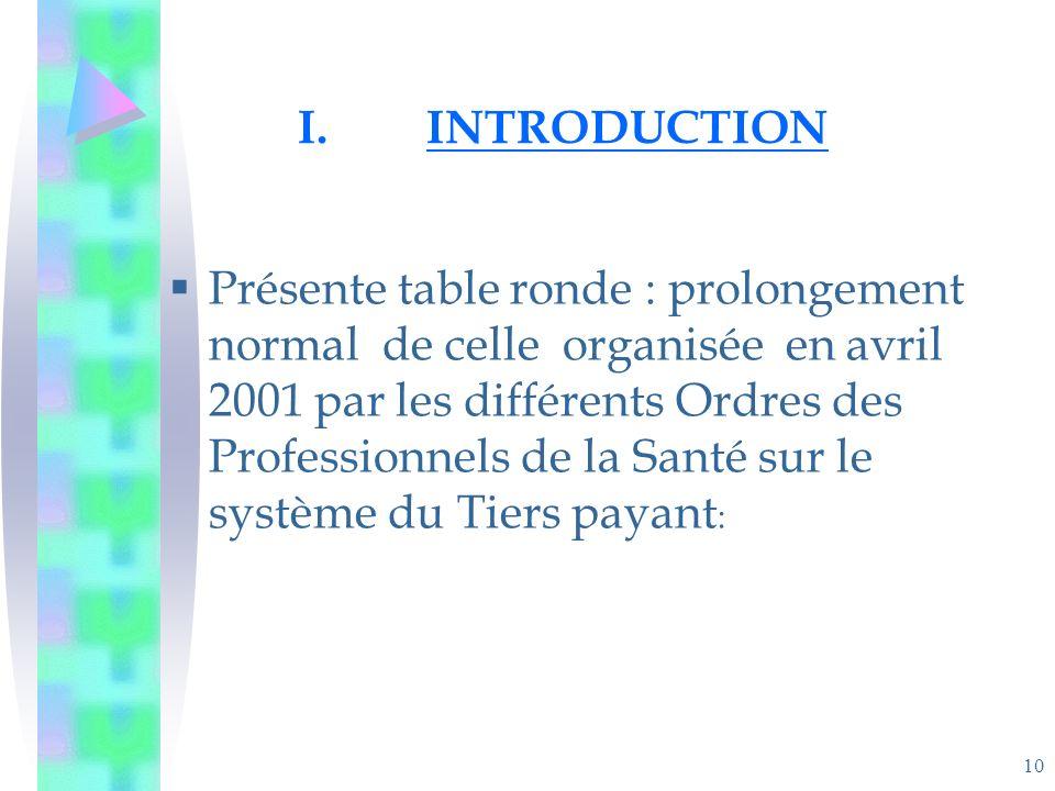 10 I.INTRODUCTION Présente table ronde : prolongement normal de celle organisée en avril 2001 par les différents Ordres des Professionnels de la Santé