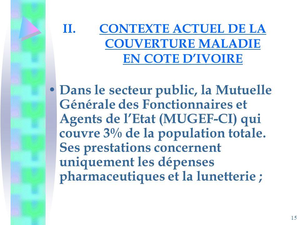 15 II.CONTEXTE ACTUEL DE LA COUVERTURE MALADIE EN COTE DIVOIRE Dans le secteur public, la Mutuelle Générale des Fonctionnaires et Agents de lEtat (MUGEF-CI) qui couvre 3% de la population totale.