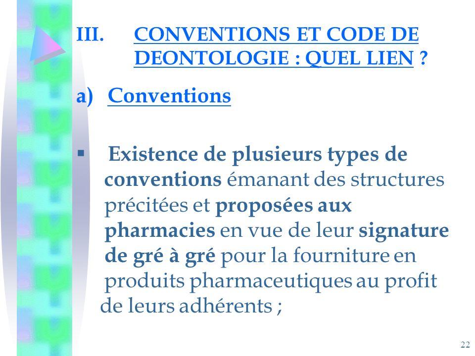 22 III.CONVENTIONS ET CODE DE DEONTOLOGIE : QUEL LIEN .