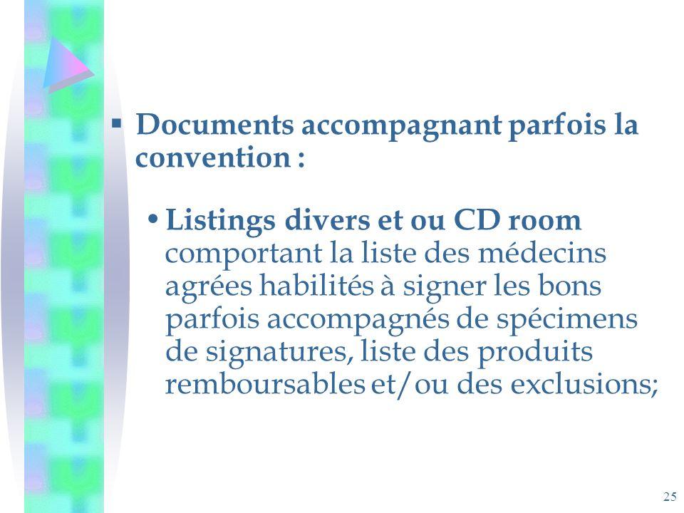 25 Documents accompagnant parfois la convention : Listings divers et ou CD room comportant la liste des médecins agrées habilités à signer les bons parfois accompagnés de spécimens de signatures, liste des produits remboursables et/ou des exclusions;
