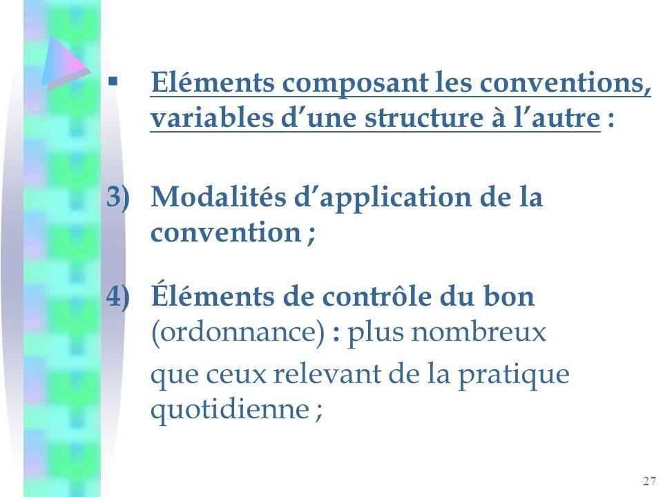 27 Eléments composant les conventions, variables dune structure à lautre : 3)Modalités dapplication de la convention ; 4)Éléments de contrôle du bon (ordonnance) : plus nombreux que ceux relevant de la pratique quotidienne ;
