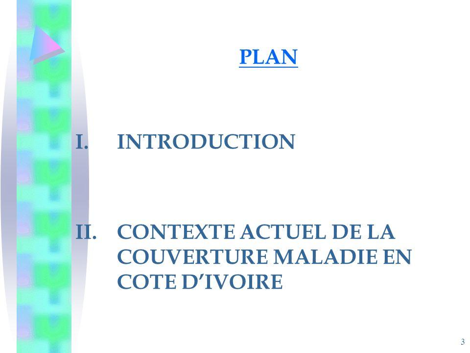 3 PLAN I.INTRODUCTION II.CONTEXTE ACTUEL DE LA COUVERTURE MALADIE EN COTE DIVOIRE