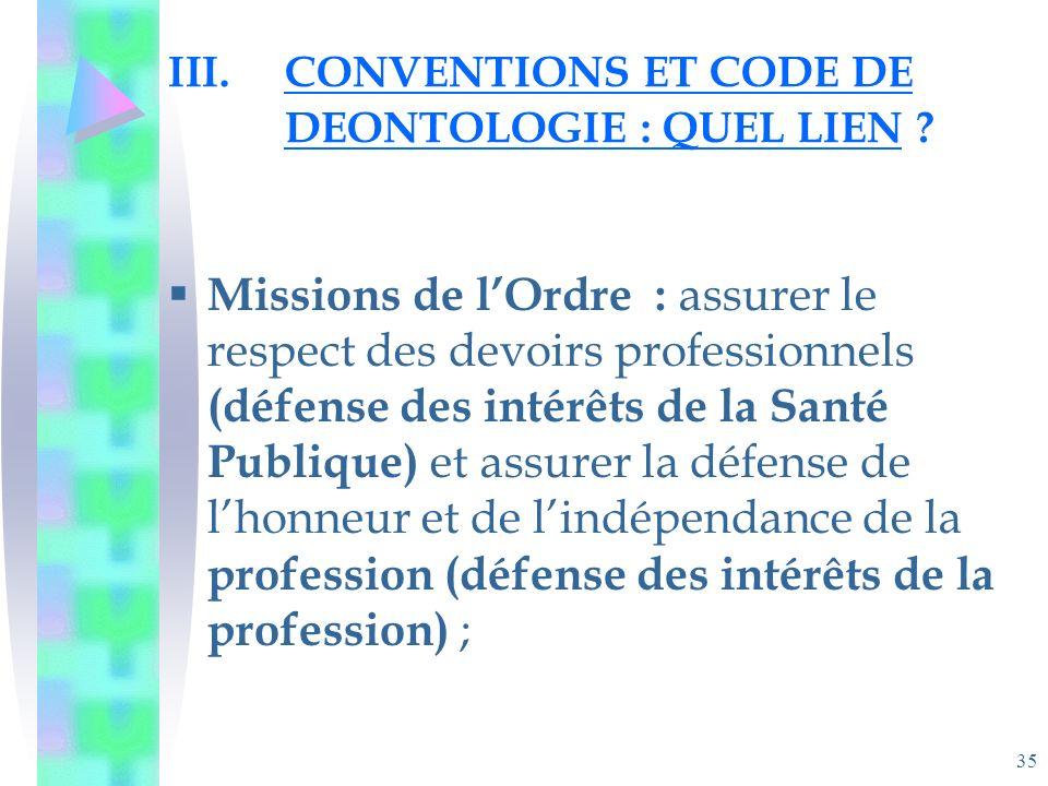35 III.CONVENTIONS ET CODE DE DEONTOLOGIE : QUEL LIEN .