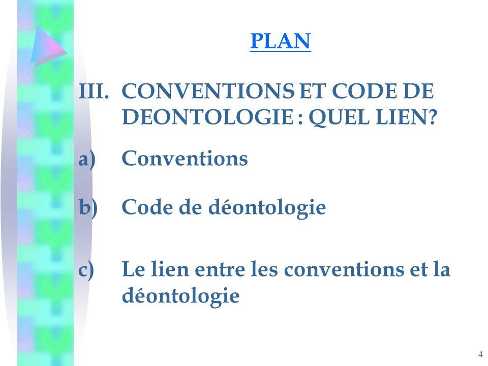 4 PLAN III.CONVENTIONS ET CODE DE DEONTOLOGIE : QUEL LIEN.