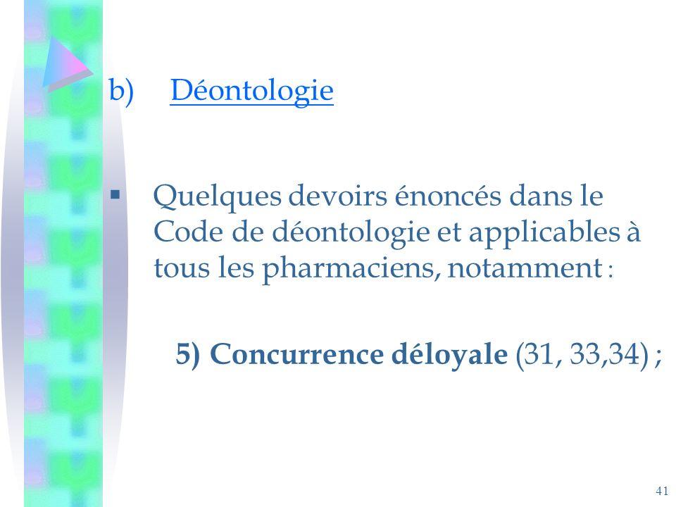 41 b)Déontologie Quelques devoirs énoncés dans le Code de déontologie et applicables à tous les pharmaciens, notamment : 5)Concurrence déloyale (31, 33,34) ;