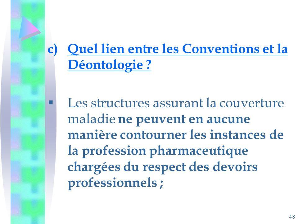 48 c)Quel lien entre les Conventions et la Déontologie .