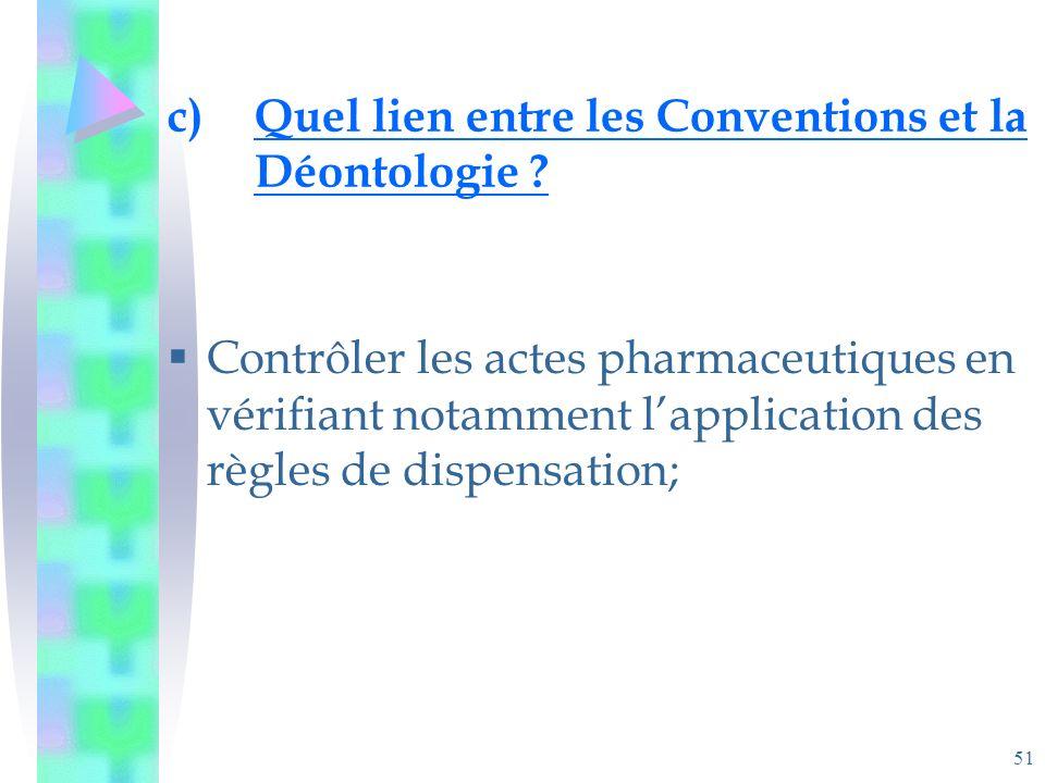 51 c)Quel lien entre les Conventions et la Déontologie .