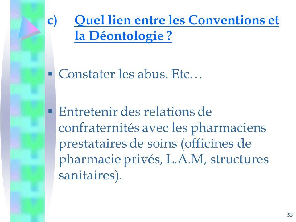 53 c)Quel lien entre les Conventions et la Déontologie .