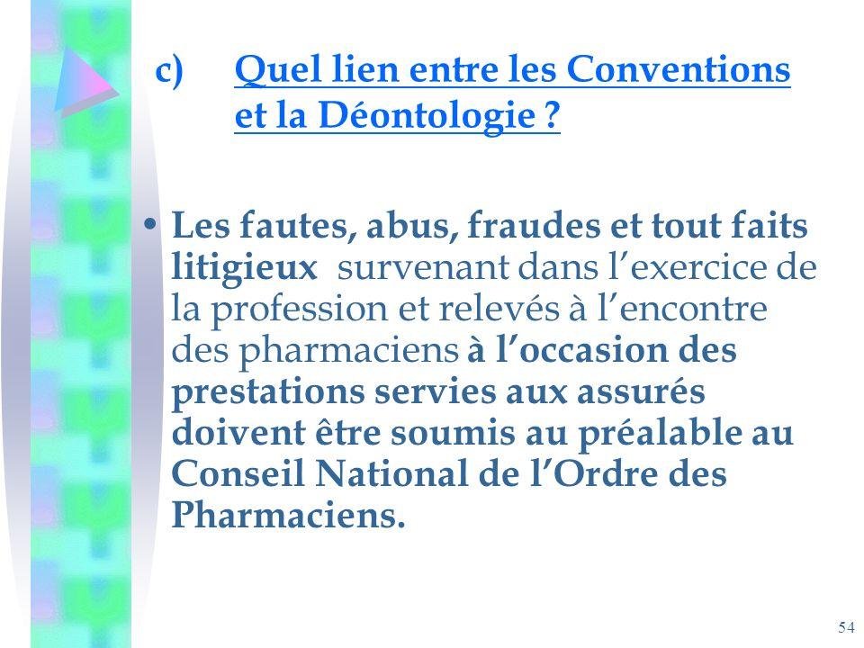 54 c)Quel lien entre les Conventions et la Déontologie .