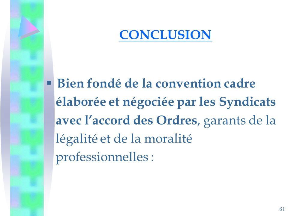 61 CONCLUSION Bien fondé de la convention cadre élaborée et négociée par les Syndicats avec laccord des Ordres, garants de la légalité et de la moralité professionnelles :
