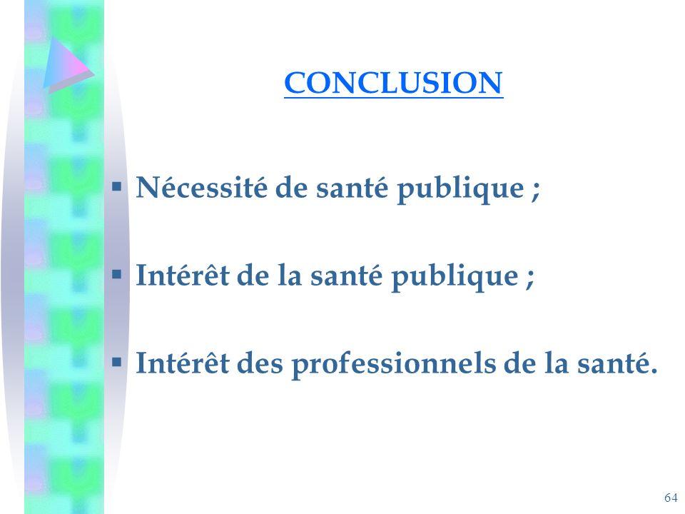 64 CONCLUSION Nécessité de santé publique ; Intérêt de la santé publique ; Intérêt des professionnels de la santé.