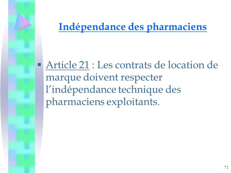 71 Indépendance des pharmaciens Article 21 : Les contrats de location de marque doivent respecter lindépendance technique des pharmaciens exploitants.