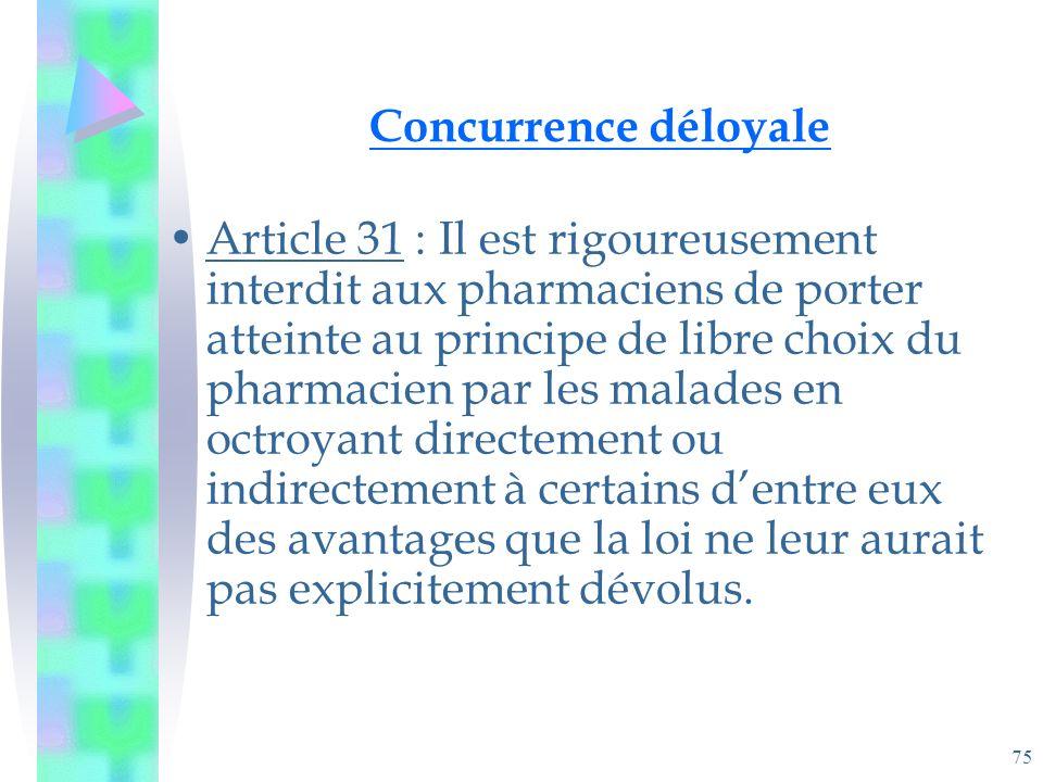 75 Concurrence déloyale Article 31 : Il est rigoureusement interdit aux pharmaciens de porter atteinte au principe de libre choix du pharmacien par les malades en octroyant directement ou indirectement à certains dentre eux des avantages que la loi ne leur aurait pas explicitement dévolus.