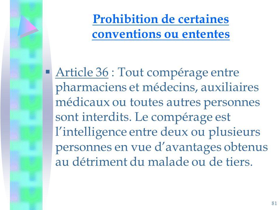 81 Prohibition de certaines conventions ou ententes Article 36 : Tout compérage entre pharmaciens et médecins, auxiliaires médicaux ou toutes autres personnes sont interdits.
