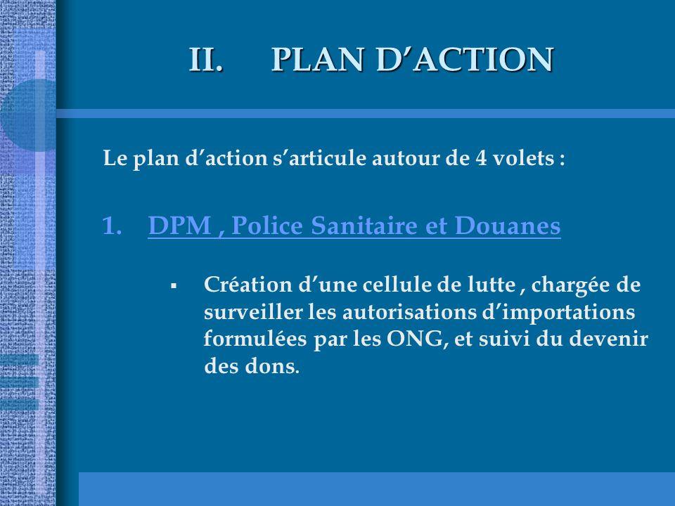 II.PLAN DACTION Le plan daction sarticule autour de 4 volets : 1.DPM, Police Sanitaire et Douanes Création dune cellule de lutte, chargée de surveiller les autorisations dimportations formulées par les ONG, et suivi du devenir des dons.