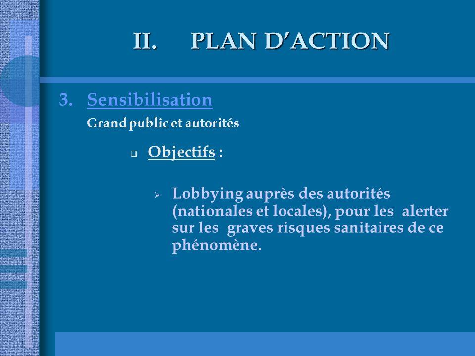 II.PLAN DACTION 3.Sensibilisation Grand public et autorités Objectifs : Lobbying auprès des autorités (nationales et locales), pour les alerter sur les graves risques sanitaires de ce phénomène.