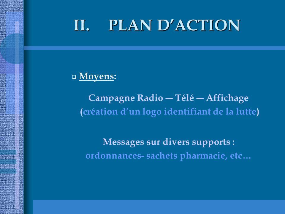 II.PLAN DACTION Moyens: Campagne Radio Télé Affichage (création dun logo identifiant de la lutte) Messages sur divers supports : ordonnances- sachets pharmacie, etc…