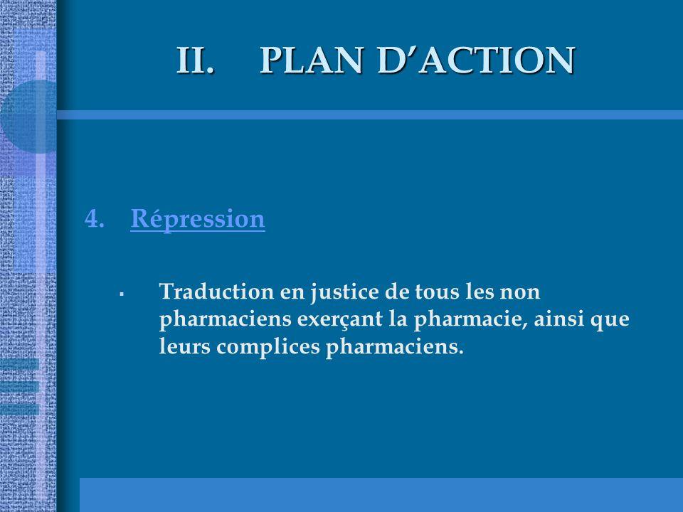 II.PLAN DACTION 4.Répression Traduction en justice de tous les non pharmaciens exerçant la pharmacie, ainsi que leurs complices pharmaciens.