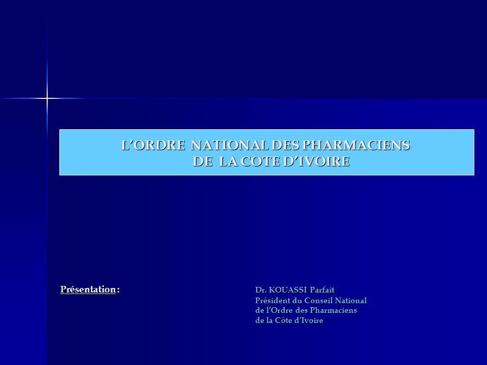 Présentation : Dr. KOUASSI Parfait Président du Conseil National de lOrdre des Pharmaciens de la Côte dIvoire LORDRE NATIONAL DES PHARMACIENS DE LA CO