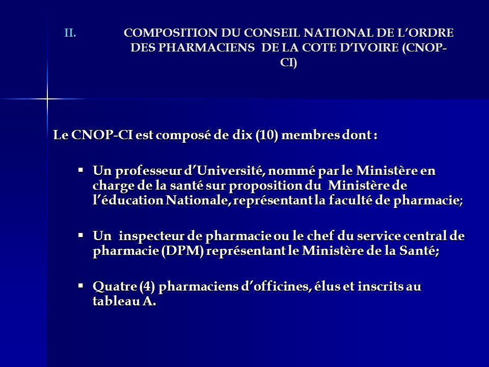 II.COMPOSITION DU CONSEIL NATIONAL DE LORDRE DES PHARMACIENS DE LA COTE DIVOIRE (CNOP- CI) Le CNOP-CI est composé de dix (10) membres dont : Un profes