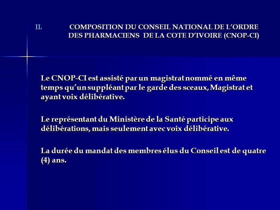 II.COMPOSITION DU CONSEIL NATIONAL DE LORDRE DES PHARMACIENS DE LA COTE DIVOIRE (CNOP-CI) Le CNOP-CI est assisté par un magistrat nommé en même temps
