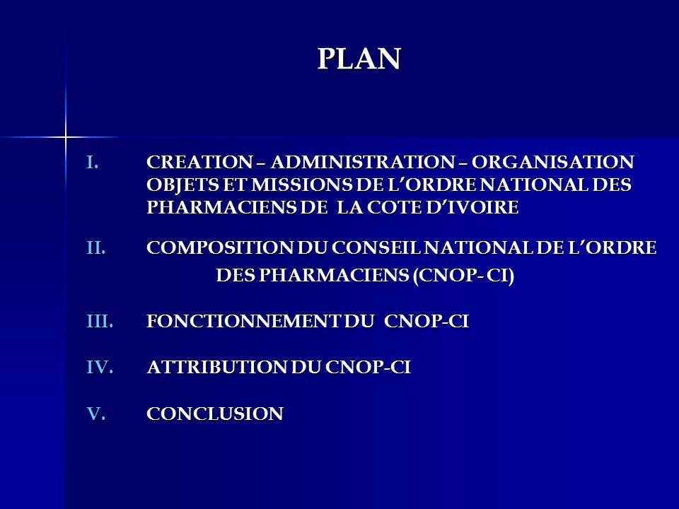 PLAN I.CREATION – ADMINISTRATION – ORGANISATION OBJETS ET MISSIONS DE LORDRE NATIONAL DES PHARMACIENS DE LA COTE DIVOIRE II.COMPOSITION DU CONSEIL NAT