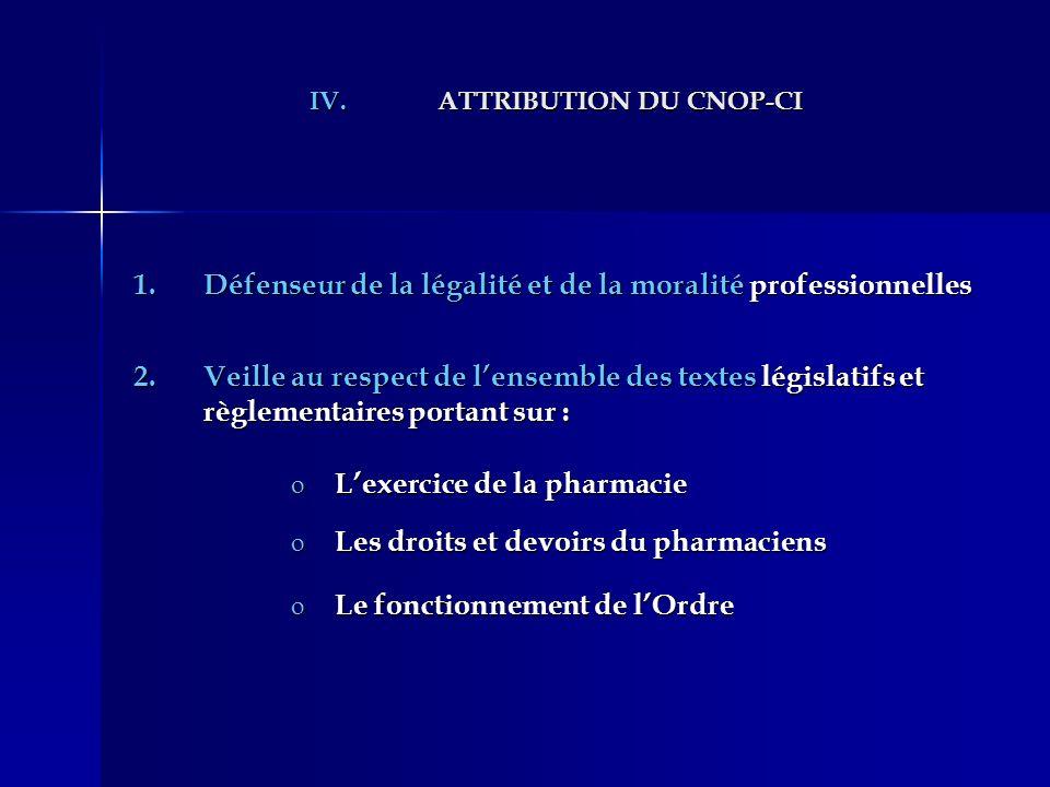 IV.ATTRIBUTION DU CNOP-CI 1.Défenseur de la légalité et de la moralité professionnelles 2.Veille au respect de lensemble des textes législatifs et règ
