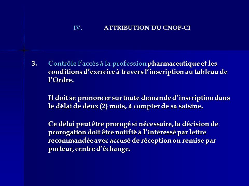 IV.ATTRIBUTION DU CNOP-CI 3.Contrôle laccès à la profession pharmaceutique et les conditions dexercice à travers linscription au tableau de lOrdre. Il