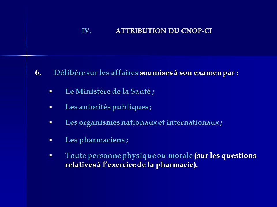 IV.ATTRIBUTION DU CNOP-CI 6.Délibère sur les affaires soumises à son examen par : Le Ministère de la Santé ; Le Ministère de la Santé ; Les autorités