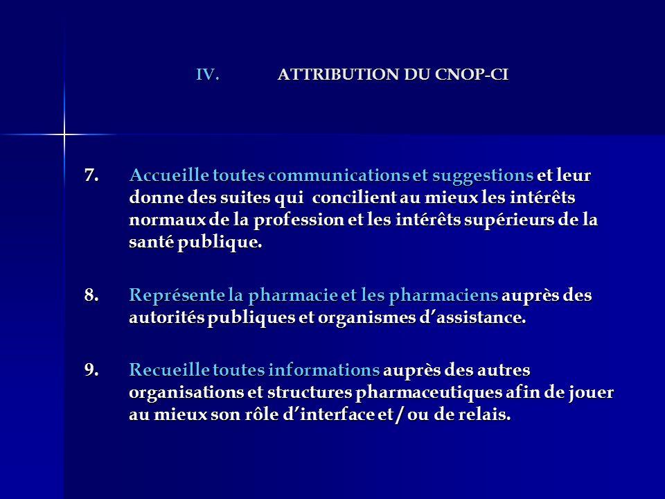 IV.ATTRIBUTION DU CNOP-CI 7.Accueille toutes communications et suggestions et leur donne des suites qui concilient au mieux les intérêts normaux de la