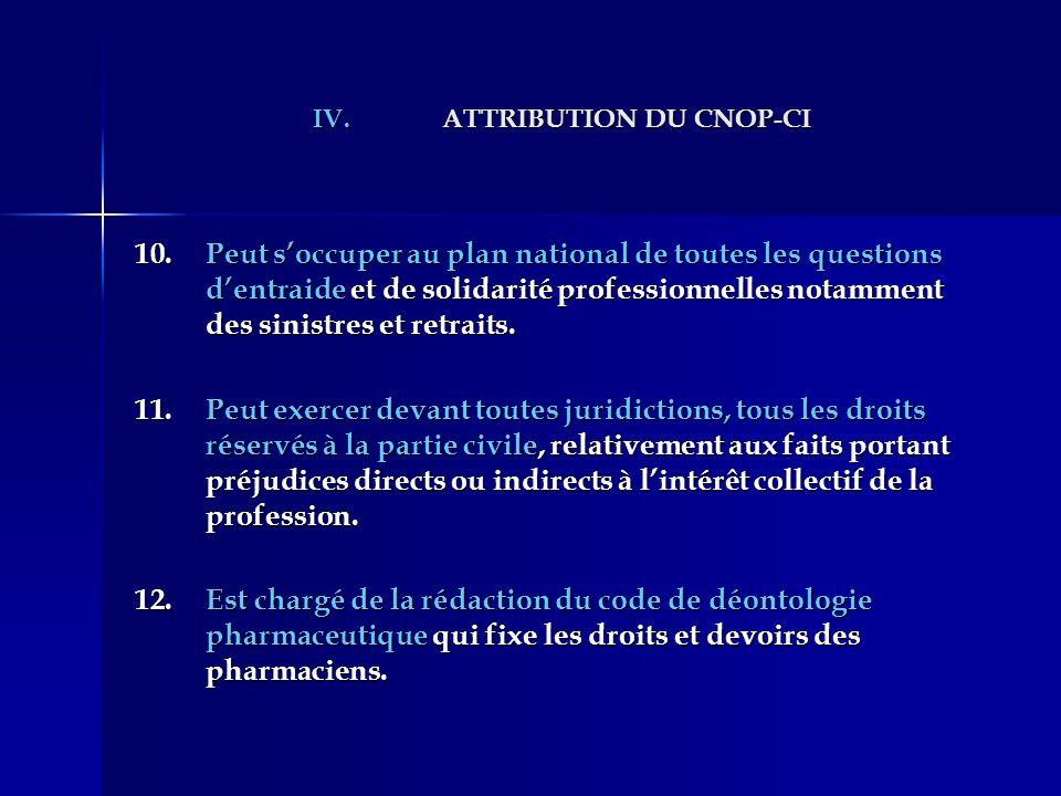 IV.ATTRIBUTION DU CNOP-CI 10.Peut soccuper au plan national de toutes les questions dentraide et de solidarité professionnelles notamment des sinistre
