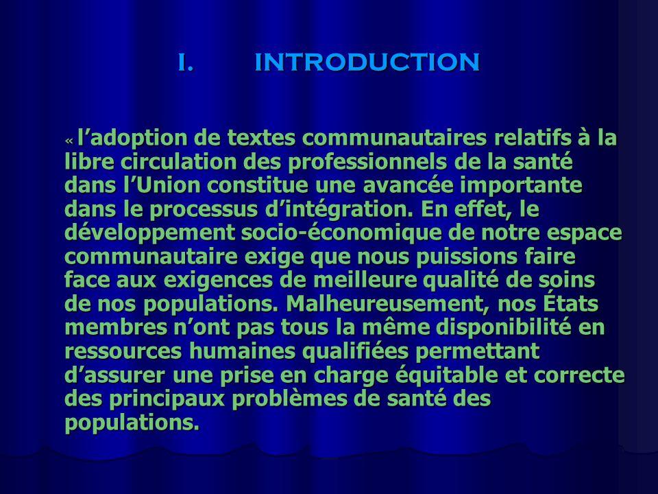 I.INTRODUCTION « ladoption de textes communautaires relatifs à la libre circulation des professionnels de la santé dans lUnion constitue une avancée i