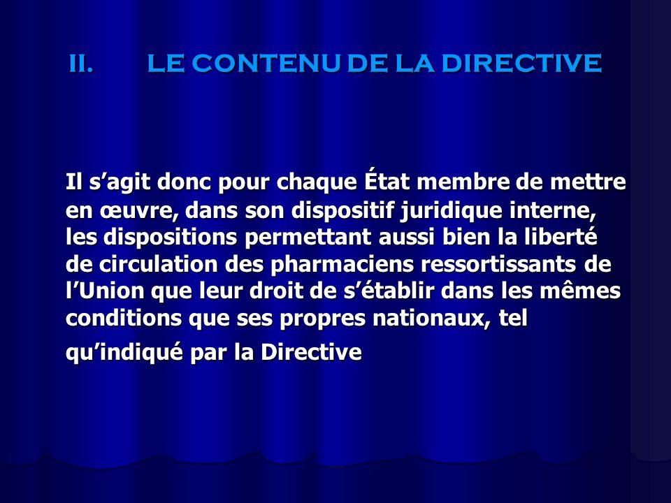 II.LE CONTENU DE LA DIRECTIVE Il sagit donc pour chaque État membre de mettre en œuvre, dans son dispositif juridique interne, les dispositions permet