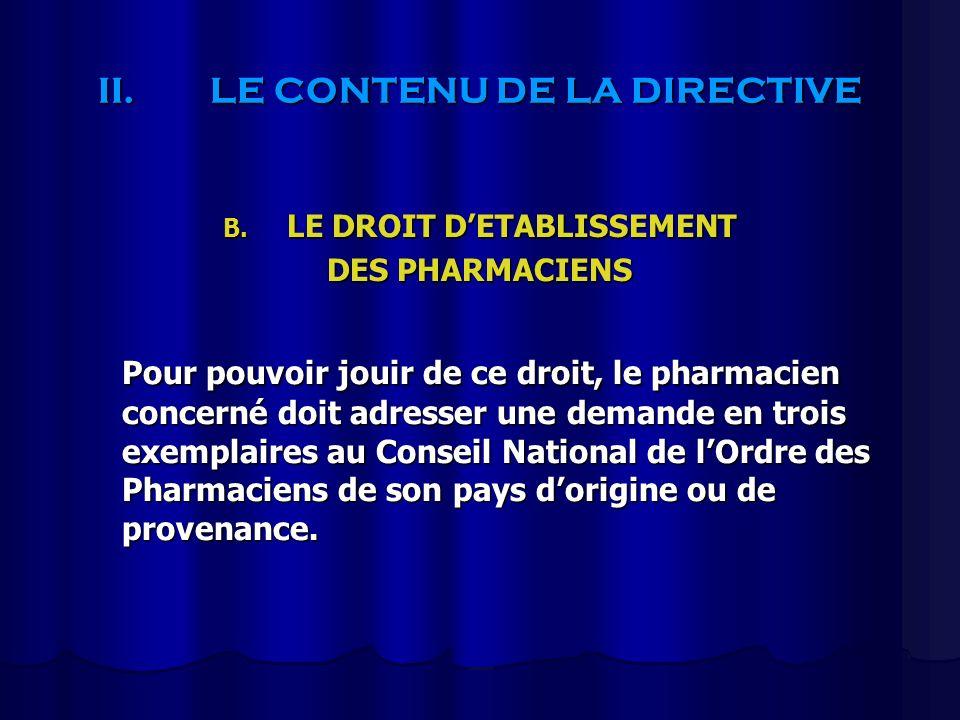 II.LE CONTENU DE LA DIRECTIVE B. LE DROIT DETABLISSEMENT DES PHARMACIENS Pour pouvoir jouir de ce droit, le pharmacien concerné doit adresser une dema