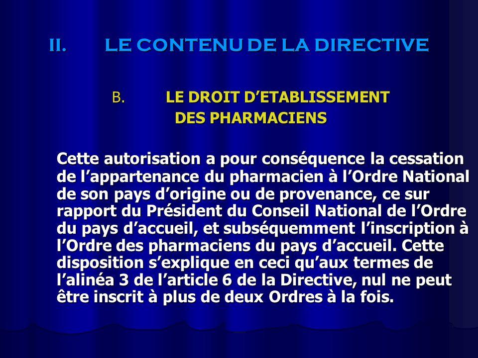 II.LE CONTENU DE LA DIRECTIVE B. LE DROIT DETABLISSEMENT DES PHARMACIENS Cette autorisation a pour conséquence la cessation de lappartenance du pharma
