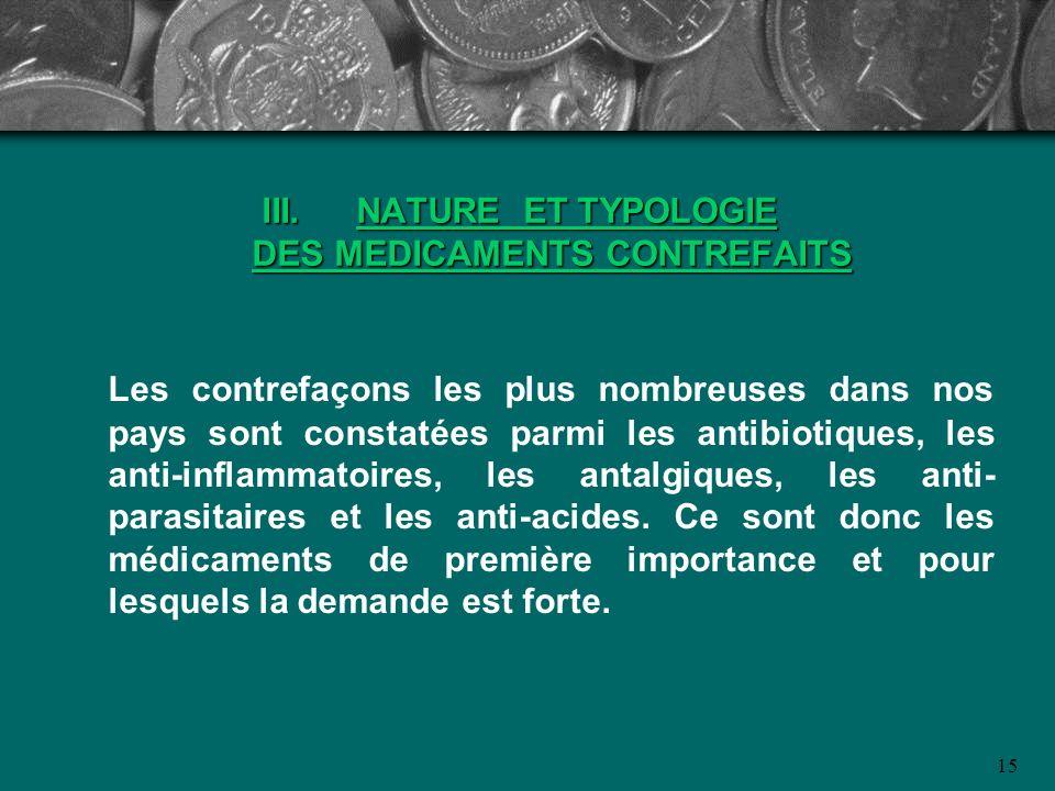 III. NATURE ET TYPOLOGIE DES MEDICAMENTS CONTREFAITS Les contrefaçons les plus nombreuses dans nos pays sont constatées parmi les antibiotiques, les a