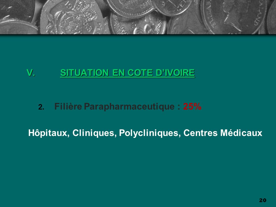 20 V.SITUATION EN COTE DIVOIRE Filière Parapharmaceutique : 25% Hôpitaux, Cliniques, Polycliniques, Centres Médicaux