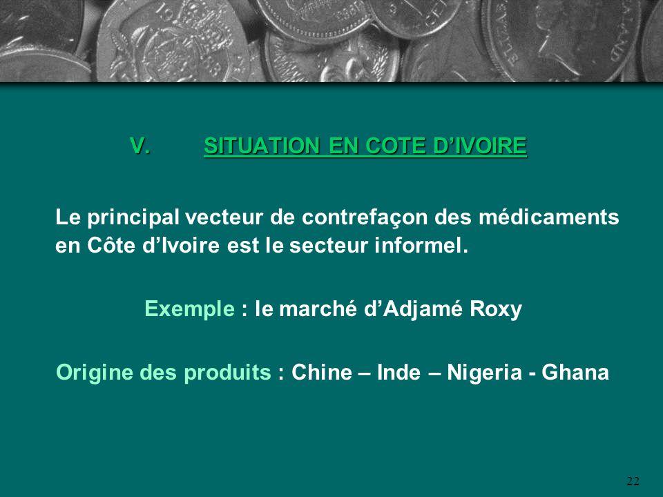 22 V.SITUATION EN COTE DIVOIRE Le principal vecteur de contrefaçon des médicaments en Côte dIvoire est le secteur informel. Exemple : le marché dAdjam