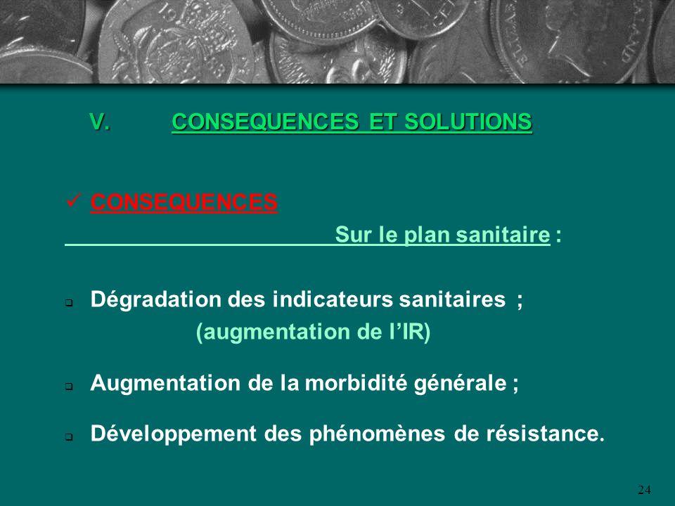 24 V.CONSEQUENCES ET SOLUTIONS CONSEQUENCES Sur le plan sanitaire : Dégradation des indicateurs sanitaires ; (augmentation de lIR) Augmentation de la
